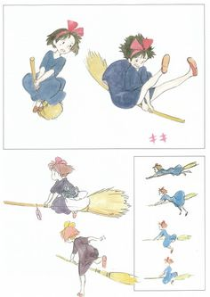 kiki's delivery service studio ghibli ★ || CHARACTER DESIGN REFERENCES | マンガの描き方 • Find more artworks at https://www.facebook.com/CharacterDesignReferences  http://www.pinterest.com/characterdesigh and learn how to draw: #concept #art #animation #anime #comics || ★