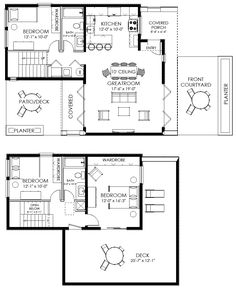 Small House Plan, Small Contemporary House Plan, Modern Cabin Plan: Apartment, Minimal Budget, Budget
