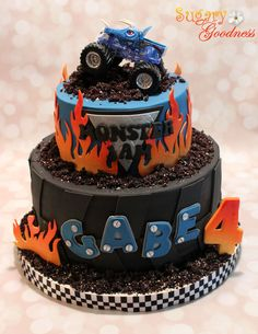 https://flic.kr/p/ojAjxF | Monster Jam Cake | Grandson Gabe's 4th Birthday Monster Truck is a toy (he picked out) 6 and 9 inch chocolate cakes with peanut butter filling covered in ganache covered with fondant.