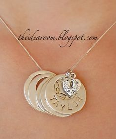Washer necklace with your kids names on them! SO cute! <3 from the idea room