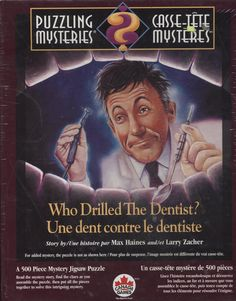 Puzzling Mysteries Who Drilled the Dentist 500 piece mystery jigsaw puzzle. Great gift idea...maybe for a dentist or someone in the dental profession, LOL?  #ck