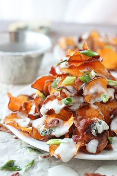 Baked Sweet Potato Chips with Blue Cheese Sauce and Bacon 8
