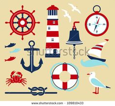 Illustration about Nautical elements in cartoon style. Illustration of painting, nautical, sailboat - 31795600 Nautical Baby, Nautical Theme, Nautical Fonts, Nautical Quilt, Nautical Rope, Nautical Clipart, Festa Party, Decorate Your Room, Free Vector Art