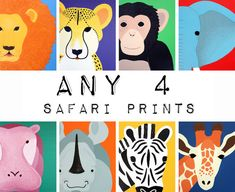 Safari nursery prints for baby & child. SET OF ANY 4 by Wallfry