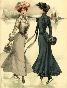 Stroje na ślizgawkę, 1901 Skating outfits, 1901 Edwardian Era Fashion, Edwardian Costumes, 1890s Fashion, Vintage Fashion, Vintage Beauty, Gothic Fashion, Belle Epoque, Fashion Through The Decades, 19th Century Fashion