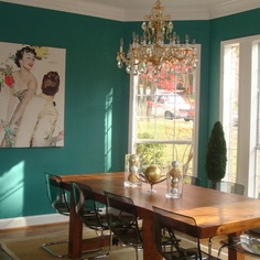 Lagoon by Sherwin-Williams for the feature wall.