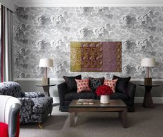 patternsnap  Cole & Son cloud wallpaper: 'Fornasetti II Nuvolette' Ham Yard Hotel