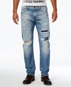 True Religion Men's Geno Cotton Slim-Fit Destroyed Jeans  - Blue 33