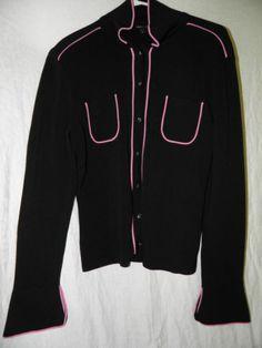 BCBG Maxazria Sweater Cardigan 3/4 Sleeves Size M or L Black Pink Trim NEW