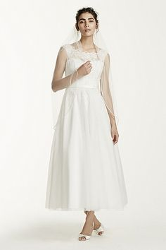 David's Bridal_Tea Length Tulle Illusion Neckline Gown Style WG3721