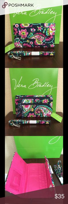 """NWT VERA BRADLEY STRAP WALLET CROSSBODY Brand new and authentic Vera Bradley petal paisley  Size: 7.5"""" W x 4.75"""" H with 54"""" strap drop  Details  ·        Trifold design with magnetic snap closure ·        Two different size gusseted zip pockets outside back ·        12 card slots, 3 bill pockets and one ID window inside ·      One 54"""" removable strap included  Smoke/pet free home Vera Bradley Bags Wallets"""