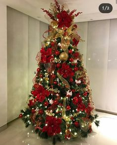 How pretty is this red, blue, and gold tree by all trim and ornaments can be fo. - Happy Christmas - Noel 2020 ideas-Happy New Year-Christmas Black Christmas Decorations, Red And Gold Christmas Tree, Elegant Christmas Trees, Christmas Tree Pictures, Diy Felt Christmas Tree, Christmas Tree Design, Colorful Christmas Tree, Christmas Tree Themes, Traditional Christmas Tree