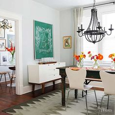 Eclectic, colorful, one-of-a-kind: Those are all apt descriptors of statement lighting. It's a home design trends that's easy to implement in every room. Use it to contrast a color, pick up on a material, or draw attention to an overheadspace.