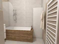 Paneláková kúpeľňa s dreveným dekorom na vani Alcove, Bathtub, Bathroom, Standing Bath, Bath Room, Bath Tub, Bathrooms, Bathtubs, Bath
