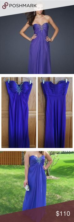 """Purple mist La Femme prom dress EUC la femme purple prom dress style 17505. Only worn once. No jewels missing, stains, or rips. Hemmed for 5'4"""" plus 3 inch heels. Absolutely gorgeous dress!! Open to offers through the offer button 💕 La Femme Dresses Prom"""