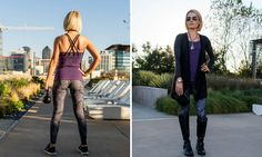 """""""All Business"""" apparel set. Whether you are back to the gym or back to work, this """"All Business"""" look by Rese Activewear will get the job done!  This plum tank pairs perfectly with the black cobra legging. Add the Romy cardigan, jewelry and wristlet, and your transition from work out to work day is complete!"""