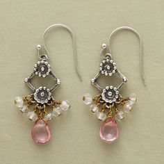 ROSEANNA EARRINGS--Pink topaz and rose quartz on twists of brass wire brighten the floral accents on sterling silver trellises. Handmade exclusive. French wires. 1-3/8L.