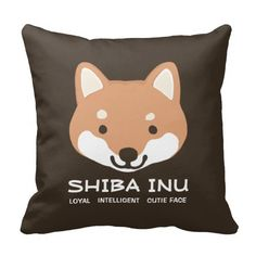 Shiba Inu Cute Face with Text Pillow