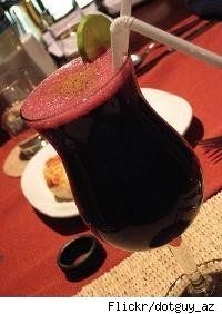 chicha morada, a Peruvian purple-corn drink that is simultaneously sweet, spicy, and fruity.