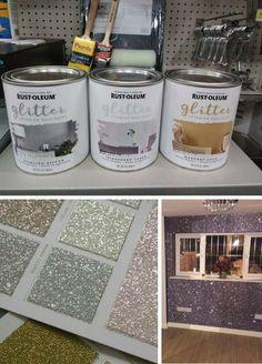 Rust-Oleum glitter paint,diy glitter striped walls for Gwen's room – All For Decoration Room Decor Bedroom, Diy Room Decor, Diy Bedroom, Bedroom Colors, Light Bedroom, Bedroom Furniture, Silver Bedroom Decor, Furniture Ideas, Bedroom Table