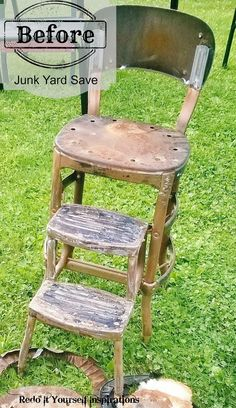 Several upcycle ideas for old step stools: http://redoityourselfinspirations.blogspot.com/2014/07/junk-yard-step-chair-upcycle.html