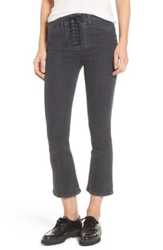 Hudson Jeans Bullocks High Waist Lace-Up Crop Jeans (Disarm) Crop Jeans, Hudson Jeans, Jeans Style, Stretch Fabric, High Waist, Black Jeans, Lace Up, Nordstrom, Clothes