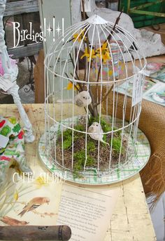 """After back and forth from Wisconisn to Illinois. After """"Hauling, Loading-In, Unpacking, Displaying, & Adorning. Bird Crafts, Crafts To Do, Shabby Chic Birdhouse, Cloche Decor, Decorative Bird Houses, Farmhouse Wall Decor, Plant Hanger, I'm Sad, Birdcages"""