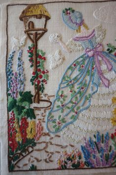 BEAUTIFUL VINTAGE HAND EMBROIDERED PICTURE/CRINOLINE LADY IN GARDEN