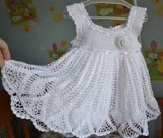 Beautiful pattern with crochet in white dress ~ Crochet Baby
