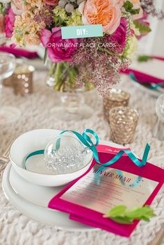 DIY Ornament Place Card  Read more - http://www.stylemepretty.com/living/2013/12/18/diy-ornament-place-card/