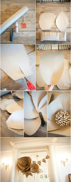 DIY Giant Kraft Paper Flower - isabella home Tissue Flowers, Crepe Paper Flowers, Giant Paper Flowers, Fake Flowers, Diy Flowers, Fabric Flowers, Flower Diy, Rustic Flowers, Kraft Paper