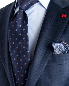 Image of Isaia Blue Check with Aqua Windowpane Suit