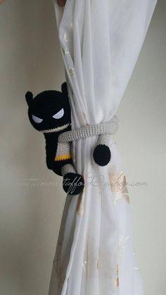 1 Batman Crochet curtain tie back Handmade Batman curtain