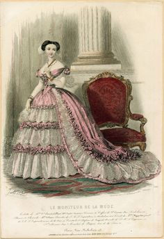 Fashion plate, Le Moniteur de la Mode. Winter 1855.     Ella Strong Dennison Library, Claremont College.