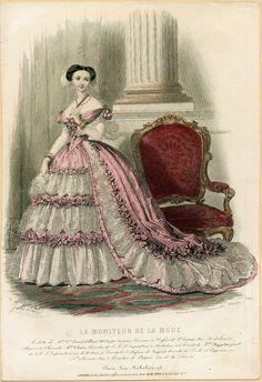 1855 - Le Moniteur de la Mode: Court Dress for the Tuileries Palace 1850s Fashion, Edwardian Fashion, Vintage Fashion, Fashion Goth, French Fashion, Ladies Fashion, Pink Fashion, Vintage Outfits, Vintage Dresses