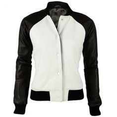 Black Leather Arm Sleeves and White Varsity Jacket Cadence ($120) ❤ liked on Polyvore featuring outerwear, jackets, white, teddy jacket, genuine leather jackets, leather sleeve jacket, leather letterman jacket and real leather jackets