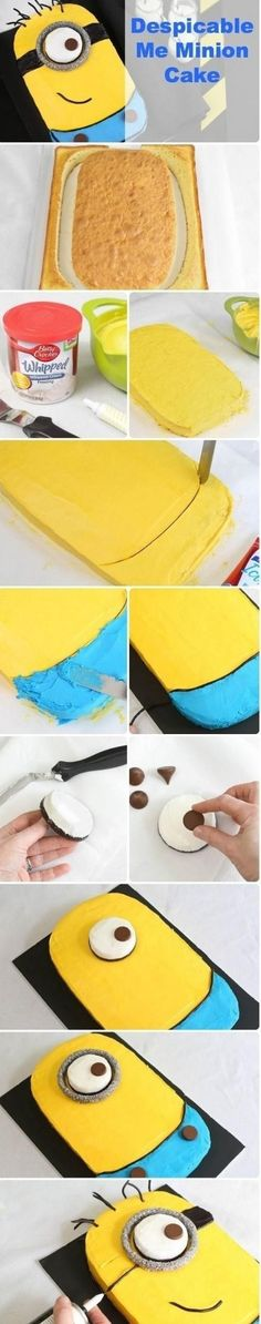 Minion Cake. http://www.bettycrocker.com/tips/tipslibrary/baking-tips/despicable-me-minion-sheet-cake @kimberlymdodd we have to do this for Archer!