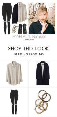 """""""HYYH Pt. 1 Inspired: Namjoon"""" by btsoutfits ❤ liked on Polyvore featuring Acne Studios, Zara, Topshop, Dr. Martens and Rachel Leigh"""