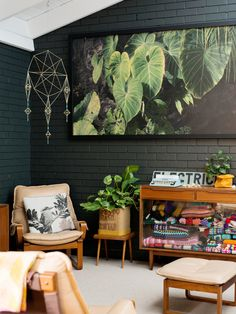 The Design Files Daily Brisbane workspace of Katrina Johnson including handmade Himmeli mobile (traditional Finnish craft of geometric shapes made with wheat straw and string)