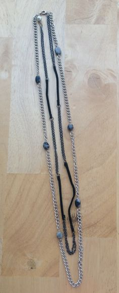 black & silver chains with black leather with grayish beads double necklace $10.00