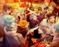 Anime guys and girls partying