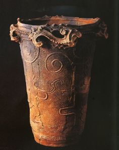 Deep Vase, Fukushima Prefecture Japan. ancient jomon earthenware...2500BC