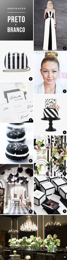 10 ideias para uma festa de 15 anos em preto e branco - Moodboard de festa temática - Constance Zahn | 15 anos