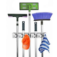 Broom Mop Holder Multipupose Wall Mounted Organizer Storage Hooks Ideal Hanger for Kitchen Garden and Garage 5 Position 6 Hooks >>> To view further for this item, visit the image link.