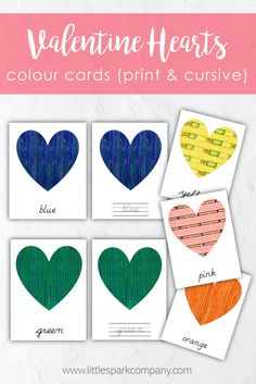 This set of seasonal colour cards features the artwork of Japanese artist Furuyu Korin, and includes both print and cursive versions as well as printing and cursive practice cards for each colour. The following colours are included: pink, red, orange, yellow, green, blue, purple & brown. Montessori Homeschool, Montessori Toddler, Montessori Materials, Language Activities, Early Education, Japanese Artists, Valentine Heart, Season Colors, Color Card