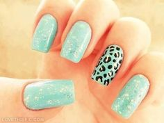 Teal and Silver Leopard Nails