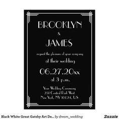 Black White Great Gatsby Art Deco Wedding Invites
