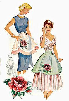 VINTAGE UNCUT APRON Sewing Pattern with Rose by KeepsakesStudio