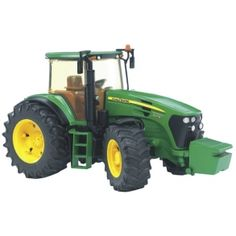 Grävmaskin eller lastbil från tillverkaren Bruder. (Traktorer har han redan.) Bästa priserna finns på den här sajten.