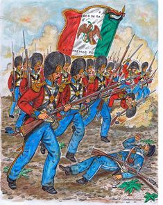 Mexican Grenadiers of the Supreme Powers circa and painted by Mr. Mexican Army, Mexican American War, Military Art, Military History, Mexican Revolution, Texas Revolution, Mexican Paintings, Military Costumes, Mexico Culture